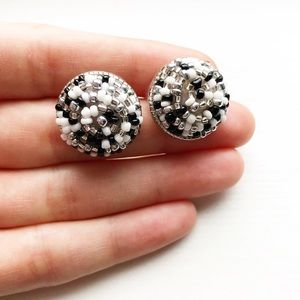 Chunky black & white beaded bauble stud earrings